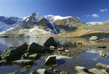 Llyn Idwal, with Y Garn, capped with snow, forming the skyline