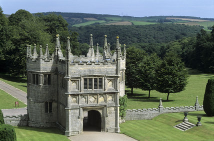 View of the gatehouse taken from the house roof at Lanhydrock