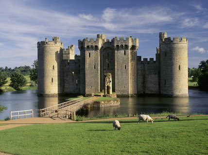 A view across the bridge, over the moat, of Bodiam Castle