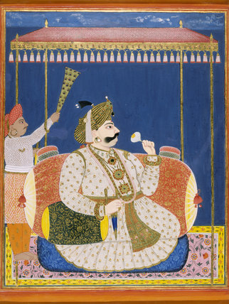 MAHARAJA PRATAP SINGH OF TANJORE, gouache, late 18th century Tanjore (Company School) at Powis Castle