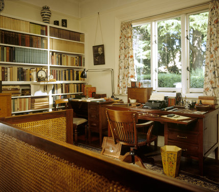 View of the Study at Shaw's Corner with George Bernard Shaw's large desk remaining exactly as he left it with his pens, type- writer and pocket dictionaries