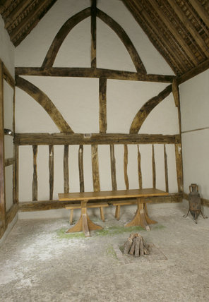 Timber framed Great Hall at Alfriston Clergy House, East Sussex