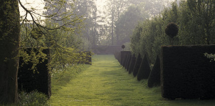 Restored layout of fruit trees and topiary view at Erddig