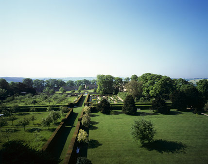 A view, looking south, over the formal gardens at Hardwick Hall