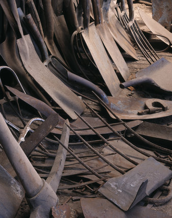 This shows a collection of spade & shovel blades,plus fork heads, at the mill