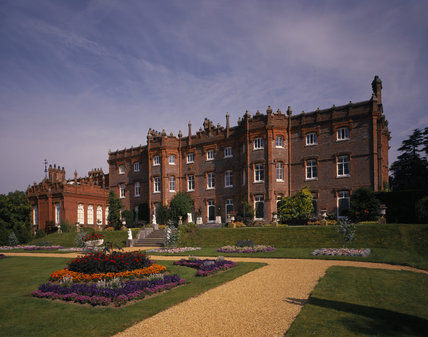 A view of the South Front of the Manor, also showing the bedding schemes