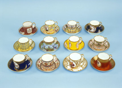 Twelve Sevres harlequin coffe cans and saucers at the Clive Museum in Powis Castle