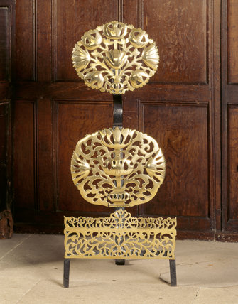 Detail of one of the brass andirons c 1670
