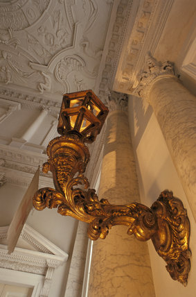 An ornate lantern at the entrance to the Marble Hall, Clandon