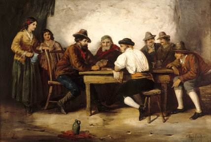 THE CARD PLAYERS, by Alfred Gilbert, in the Dining Room at Sunnycroft, depicting gamblers in a tavern with bystanders