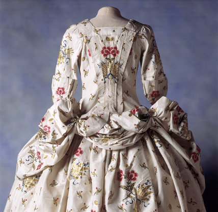 View of the back of a Mantua Court Dress at Springhill