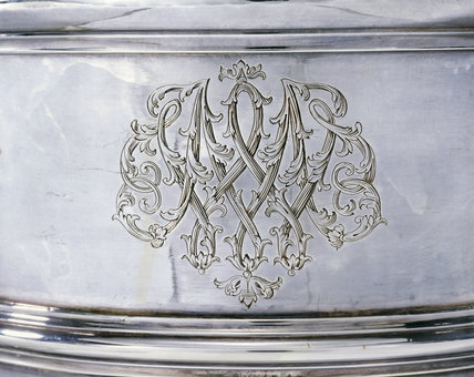Detail of the engraving on a cup and cover, by John Jacob, 1734/5, (DUN.S.475), part of the silver collection at Dunham Massey, photographed for the Country House Silver book.