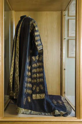 The black silk damask robe used by Disraeli as Chancellor of the Exchequer in the Bartolozzi Room at Hughenden Manor, Buckinghamshire, home of prime minister Benjamin Disraeli between 1848 and 1881