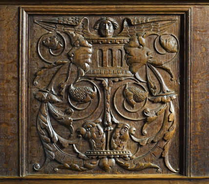 Close view of the wooden carving of the Wyatt buffet in the Dining Room in the new house at Scotney Castle, Kent