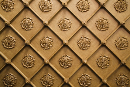Neo-Gothick ceiling of wooden ribs and Tudor rosettes probably put up in the early nineteenth-century by John Norris in the Dining Room at Hughenden Manor, High Wycombe, Buckinghamshire