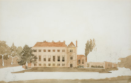 SCOTNEY FROM THE EAST  showing the three-storey range added in the C17th and since mostly demolished, in the new house at Scotney Castle, Kent
