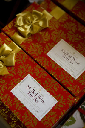National Trust mulled wine truffles on sale at the Christmas fair at Lacock Abbey, near Chippenham, Wiltshire