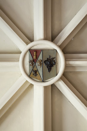 Disraeli coat of arms on the ceiling of the Entrance Arcade at Hughenden Manor, High Wycombe, Buckinghamshire