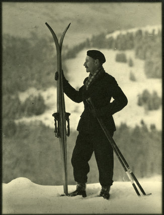 Edward Chambré Hardman with Skis