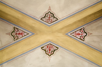 Crace ceiling in the Garden Hall in the new house at Scotney Castle, Kent