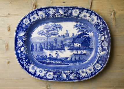 Blue and white ceramic plate in the Kitchen at Carlyle's House, 24 Cheyne Row, London