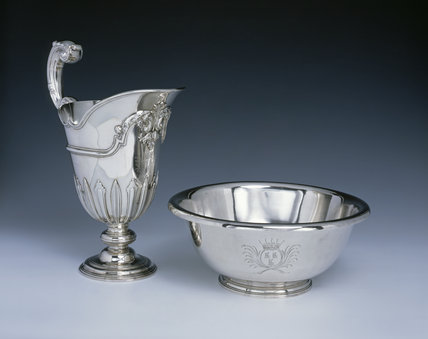 A large George II ewer by Samuel Courtauld and a basin by Edward Feline, both 1747, (DUN.S. 296 & 295) part of the silver collection at Dunham Massey, photographed for the Country House Silver book.