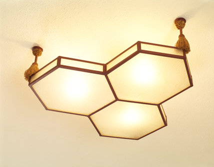 Detail of an art deco ceiling light on the first floor corridor