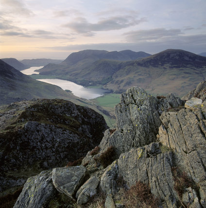 View of Buttermere and Crummock Water in the Lake District, Cumbria, from Haystacks