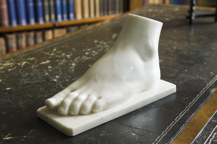 Marble copy of Mary Anne Disraeli's foot in the Library at Hughenden Manor, Buckinghamshire, home of prime minister Benjamin Disraeli between 1848 and 1881