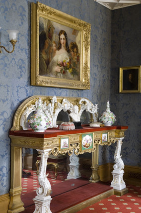 The chiffonier (sideboard) in the Drawing Room at Hughenden Manor, Buckinghamshire, home of prime minister Benjamin Disraeli between 1848 and 1881
