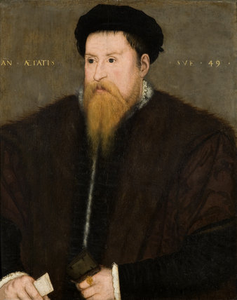 SIR NICHOLAS THROCKMORTON (1515-1571) English, 16th century, on The Staircase at Coughton Court, Warwickshire