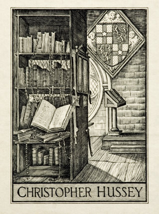 Christopher Hussey bookplate from one of the volumes in the Study in the new house at Scotney Castle, Kent