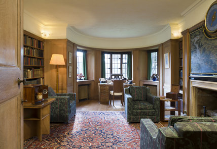 The Library at Coleton Fishacre, the house designed in 1925 for Rupert and Lady Dorothy D'Oyly Carte at Kingswear, Devon