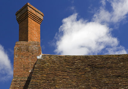 Detail of the roof and chimney at Lower Brockhampton House, the medieval manor house on the Brockhampton Estate in Worcestershire