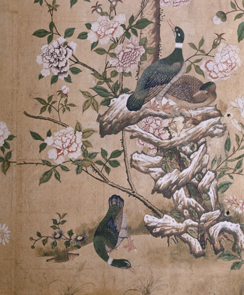 Painted birds from the Chinese wallpaper at Nostell Priory this particular piece from the Dressing Room