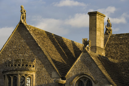 Gable ends on the roof at the fifteenth-century Great Chalfield Manor, Wiltshire