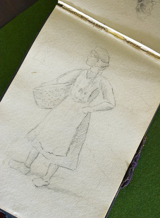 A sketch of a woman in Miss Honora Keating's sketchbook of 1910 in the Parlour at Plas yn Rhiw, Pwllheli, Gwynedd