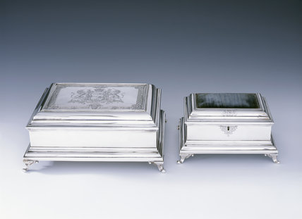 The Countess of Stamford's toilet service - large powder and comb boxes and jewel casket by Magdalen Feline, 1754, (DUN.S.327a & b, 330) part of the silver collection at Dunham Massey, photographed for the Country House Silver book.