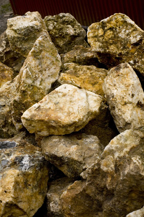 Close view of mined rock at Dolaucothi Gold Mines, Llanwrda, Carmarthenshire