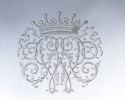 Detail of the monogram engraving on a