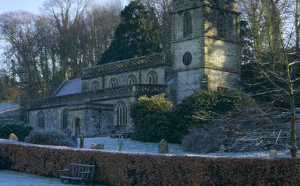 St Peter's Church in winter at Stourhead, Wiltshire