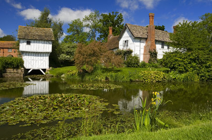 The moat, Gatehouse and Lower Brockhampton House, the medieval manor house on the Brockhampton Estate in Worcestershire