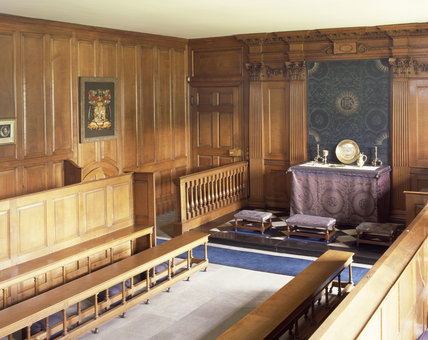 The Chapel at Dunham Massey,  showing the Chapel plate on the altar, photographed for the Country House Silver book