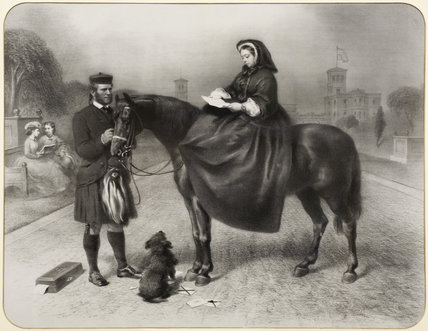 Engraving of Queen Victoria on horseback, with John Brown, in the South Bedroom at Hughenden Manor, High Wycombe, Buckinghamshire