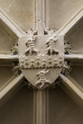 Coat of arms on the ceiling of the Hall Annex at Great Chalfield Manor, Wiltshire