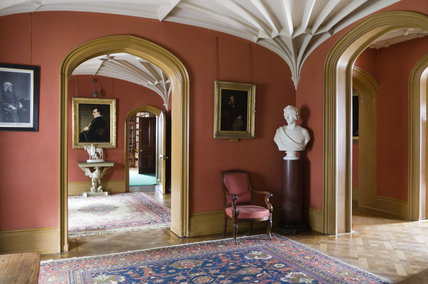 The Entrance Hall with the ribbed plaster ceiling vaults at Hughenden Manor, Buckinghamshire, home of prime minister Benjamin Disraeli between 1848 and 1881