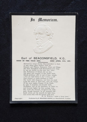 The In Memoriam embossed  paper for Disraeli, the Earl of Beaconsfield, at Hughenden Manor, Buckinghamshire, home of prime minister Benjamin Disraeli between 1848 and 1881