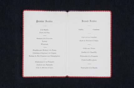 Menu for a banquet at Hughenden Manor, Buckinghamshire, home of prime minister Benjamin Disraeli between 1848 and 1881