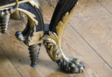 Detail of the foot of the Boulle commode in the Carved Room at Petworth House, West Sussex