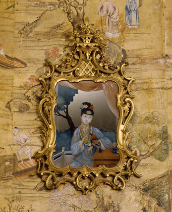 The Chinese Bedroom at Saltram, one of the mid C18th Chinese mirror paintings with a Rococo style